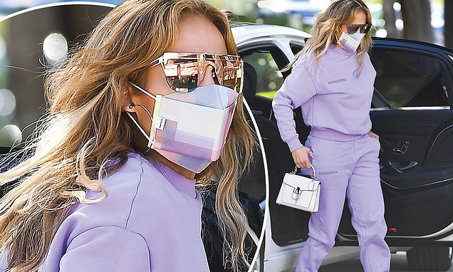 Jennifer Lopez rocks a lilac tracksuit with sneakers in Miami